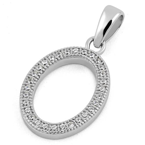 Sterling Silver Letter O CZ Pendant