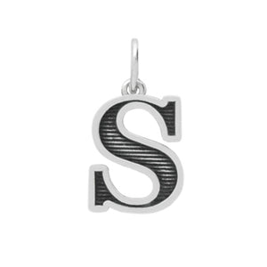 Sterling Silver Letter S Oxidized Pendant