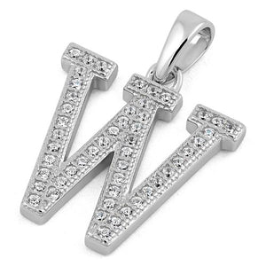 Sterling Silver Letter W CZ Pendant