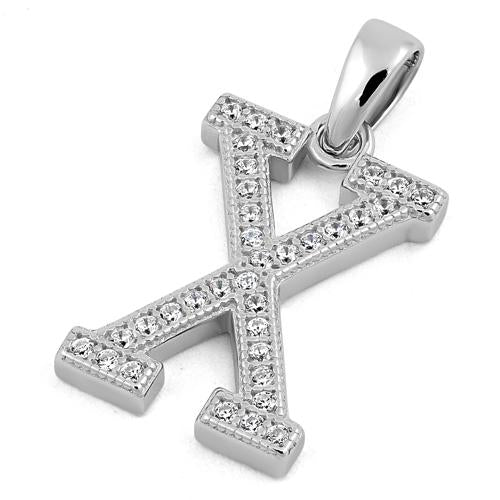 Sterling Silver Letter X CZ Pendant