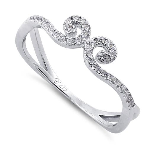 Sterling Silver Linked Vines Clear CZ Ring