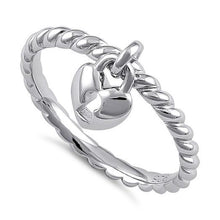 Load image into Gallery viewer, Sterling Silver Locked Heart Dangle Ring