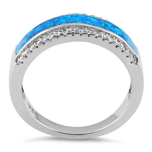 Sterling Silver Long Bar Blue Lab Opal CZ Ring
