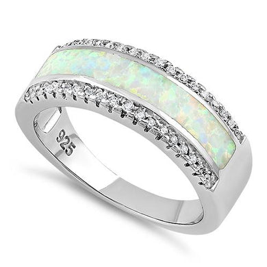 Sterling Silver Long Bar White Lab Opal CZ Ring