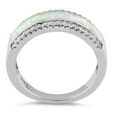 Load image into Gallery viewer, Sterling Silver Long Bar White Lab Opal CZ Ring