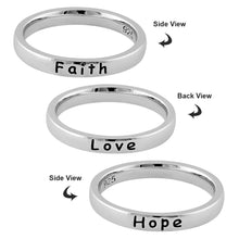 "Load image into Gallery viewer, Sterling Silver ""Love Hope Faith"" Ring"