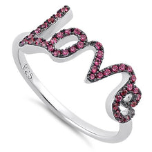 Load image into Gallery viewer, Sterling Silver Love Ruby CZ Ring
