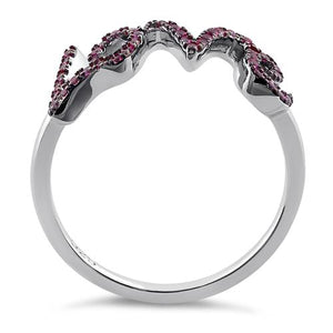 Sterling Silver Love Ruby CZ Ring