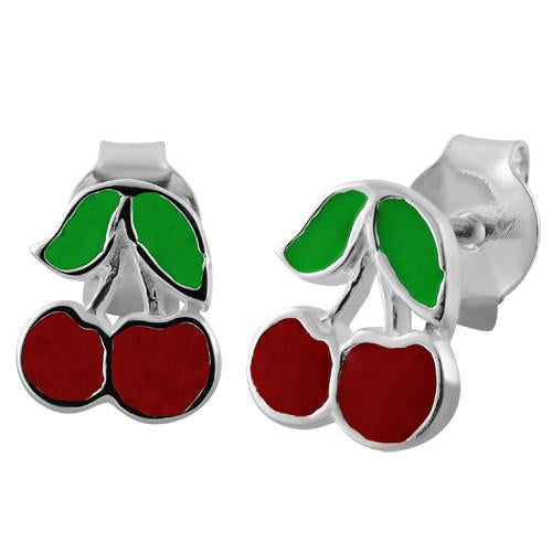 Sterling Silver Red Enamel Lucky Cherry Earrings