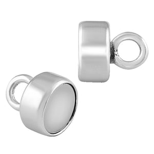 Sterling Silver Magnetic Clasp 4.5mm Button Shape - PACK OF 2 PAIRS