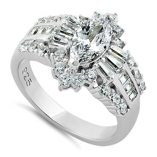 Sterling Silver Majestic Marquise Cut Clear CZ Engagement Ring