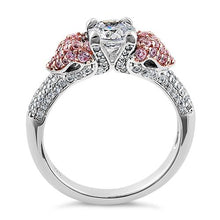 Load image into Gallery viewer, Sterling Silver Majestic Two Tone Rose Gold Plated Round Cut Clear & Pink CZ Ring