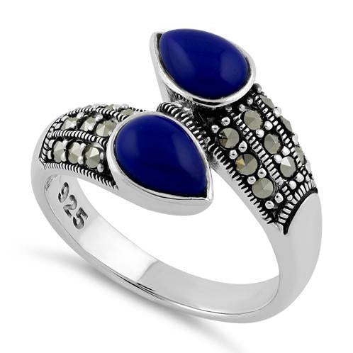 Sterling Silver Marcasite Pear Shape Blue Lapis Ring