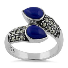 Load image into Gallery viewer, Sterling Silver Marcasite Pear Shape Blue Lapis Ring