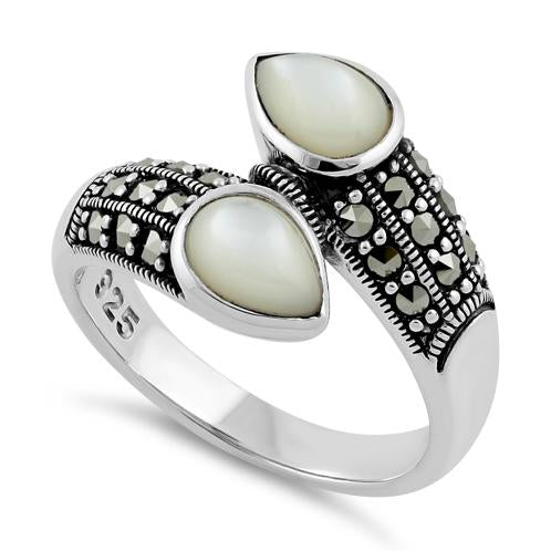 Sterling Silver Marcasite Pear Shape Mother of Pearl Ring