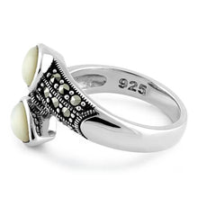 Load image into Gallery viewer, Sterling Silver Marcasite Pear Shape Mother of Pearl Ring