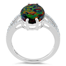 Load image into Gallery viewer, Sterling Silver Marquise Black Lab Opal Ring