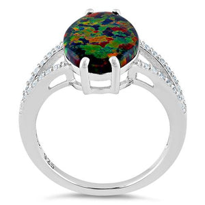 Sterling Silver Marquise Black Lab Opal Ring