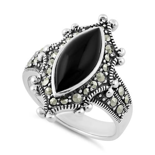 Sterling Silver Marquise Black Onyx Marcasite Ring