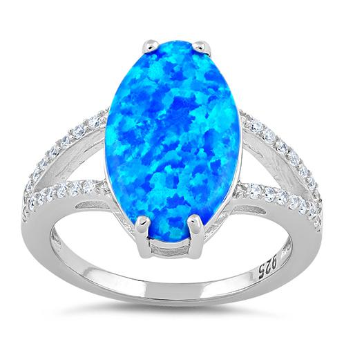 Sterling Silver Marquise Blue Lab Opal Ring