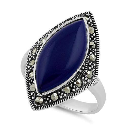 Sterling Silver Marquise Blue Lapis Marcasite Ring