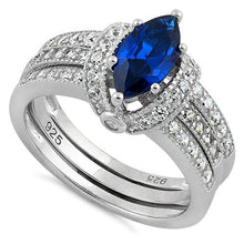 Load image into Gallery viewer, Sterling Silver Marquise Blue Spinel Clear CZ Set Ring