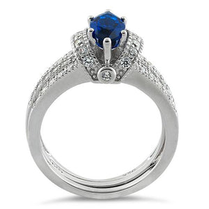 Sterling Silver Marquise Blue Spinel Clear CZ Set Ring