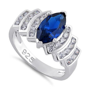 Sterling Silver Marquise Blue Spinel CZ Ring