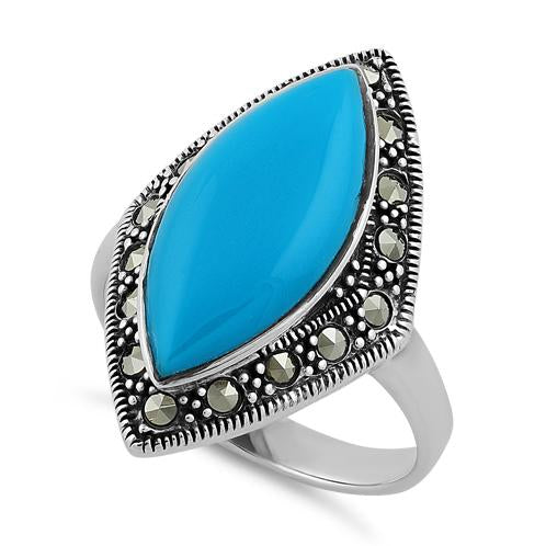 Sterling Silver Marquise Simulated Turquoise Marcasite Ring