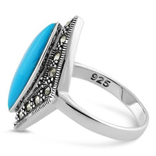 Load image into Gallery viewer, Sterling Silver Marquise Simulated Turquoise Marcasite Ring