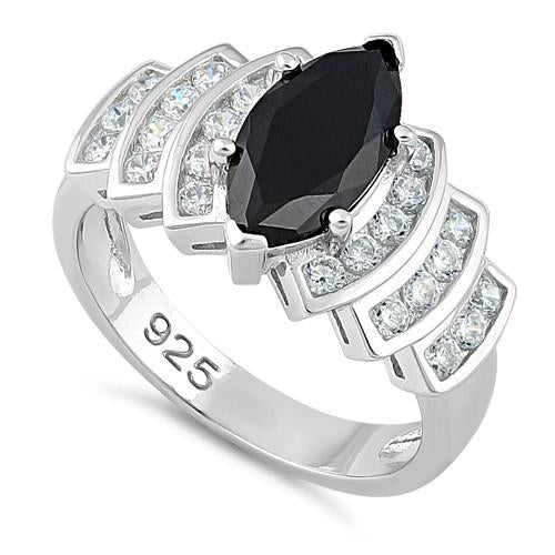 Sterling Silver Marquise Cut Black CZ Ring
