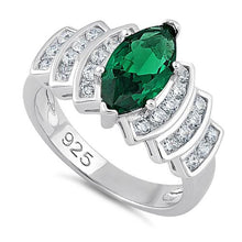 Load image into Gallery viewer, Sterling Silver Marquise Cut Emerald CZ Ring