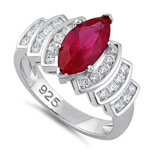 Load image into Gallery viewer, Sterling Silver Marquise Cut Ruby CZ Ring