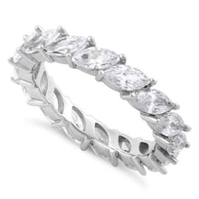 Load image into Gallery viewer, Sterling Silver Marquise CZ Eternity Ring