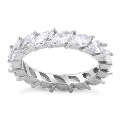 Sterling Silver Marquise CZ Eternity Ring