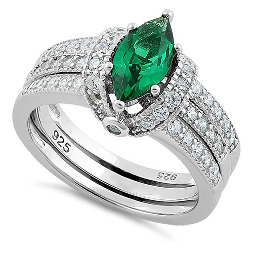 Sterling Silver Marquise Emerald Clear CZ Set Ring