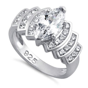 Sterling Silver Marquise Engagement Clear CZ Ring