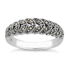 Load image into Gallery viewer, Sterling Silver Marquise Leaves Marcasite Ring