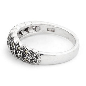 Sterling Silver Marquise Leaves Marcasite Ring