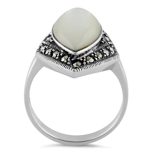 Sterling Silver Marquise Mother of Pearl Marcasite Ring