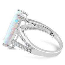 Load image into Gallery viewer, Sterling Silver Marquise White Lab Opal Ring