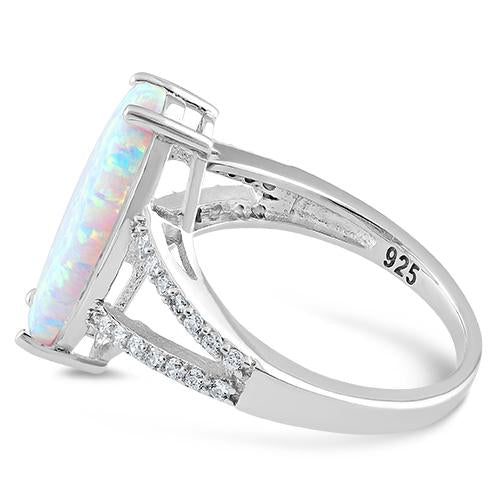 Sterling Silver Marquise White Lab Opal Ring