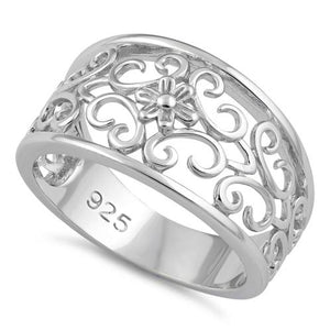 Sterling Silver Medium Flower Swirl Ring