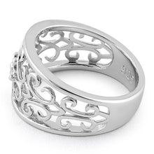 Load image into Gallery viewer, Sterling Silver Medium Flower Swirl Ring