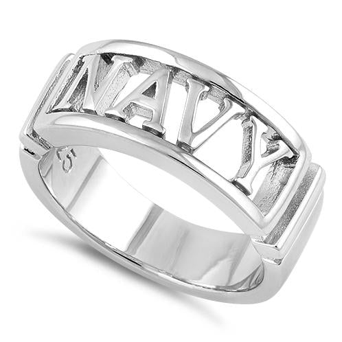 Sterling Silver Men's NAVY Ring
