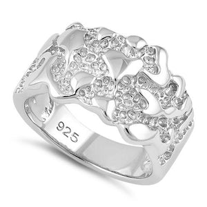 Sterling Silver Men's Nugget Design Ring