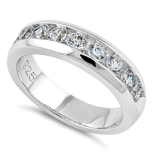 Sterling Silver Men's Wedding Band CZ Rings