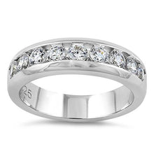 Load image into Gallery viewer, Sterling Silver Men's Wedding Band CZ Rings