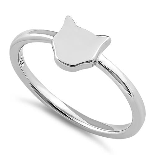 Sterling Silver Minimalist Cat Ring