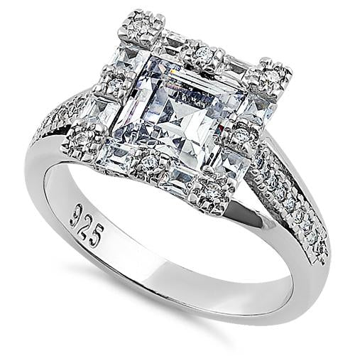 925 Sterling Silver 2.07 CT Asscher Cut halo Ring,Studded With Cz Stones Wedding Ring Engagement Ring Gift For Her